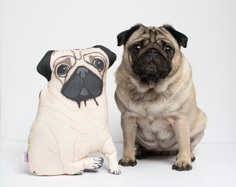 Pet portrait pillow • Custom designed • Illustrated dog or cat cushion