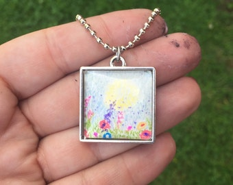 Square Flowers and Sunrise Drawing Necklace