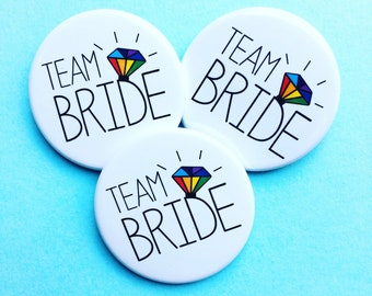 Team Bride Rainbow Badges -  Hen Party / Hen Do Badges / Gay Pride / Mrs and Mrs