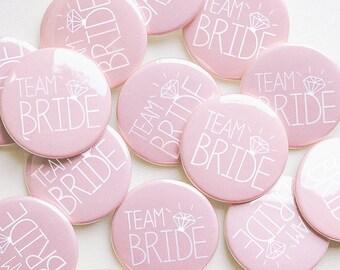 Pale Pink Team Bride Badges -  Hen Party / Hen Do Badges / Hen Night / Bachelorette Badges