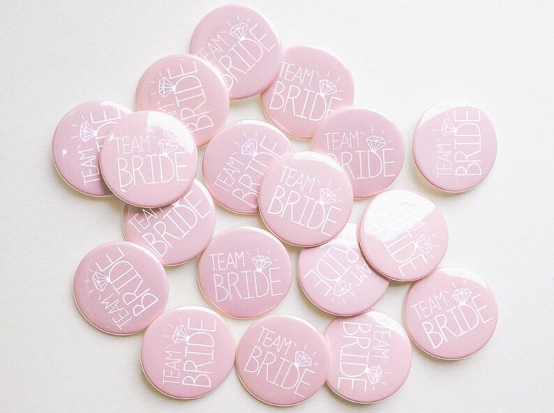 Pale Pink Team Bride Badges   Hen Party / Hen Do Badges / Hen image 0