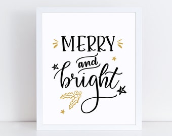 Merry and Bright - Merry Bright Print - Merry and Bright Art - Christmas Wall Art - Holiday Print - Christmas Quotes - Christmas Wall Quote