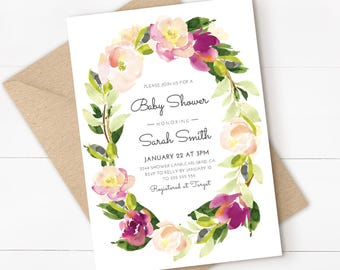 floral baby shower invitation, watercolor, floral baby shower, baby shower invitation, baby shower invite, for a girl printable invitation