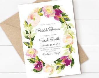 floral bridal shower invitation watercolor flower purple bridal shower invite printable invitation