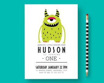 Monster birthday invitation, monster invitation, monster first birthday , Little Monster Boy Birthday, monster party, monster birthday