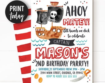Pirate invitations etsy pirate invitation pirate birthday invitation pirate party pirate birthday boys invitation printable invitation filmwisefo