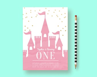 princess first birthday invitation, princess invitation, Gold and Pink Princess Invitation, princess party, princess birthday invitations