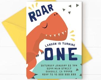 Dinosaur Invitation, dinosaur birthday, dinosaur birthday invitation, Dinosaur Printable Invitation, Dinosaur Party, DINO 1 & BACK