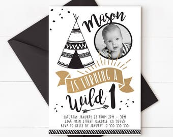 Wild one invitation, wild one birthday, wild one party, wild first birthday, wild one birthday boy, first birthday invitation, WILD ONE 2
