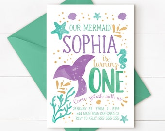Mermaid birthday invitation, under the sea invitation, Mermaid under the sea invitation, mermaid 1st birthday, mermaid invitation