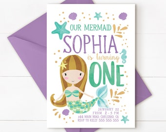Mermaid birthday invitation, Mermaid under the sea invitation, under the sea invitation, mermaid 1st birthday, mermaid invitation