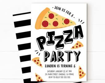 Pizza party, pizza invitation, Kids pizza party, pizza birthday, pizza birthday invitation, pizza birthday party, boy invitation