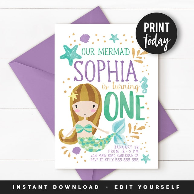 Under The Sea Invitation Mermaid Birthday 1st Party