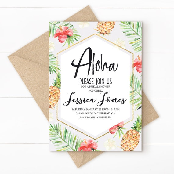 aloha tropical invitation hawaiian party tropical wedding
