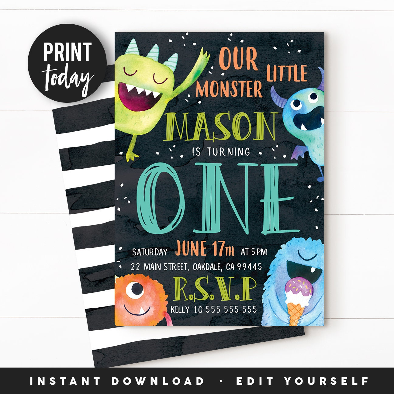 Monster Invitation Monster Birthday Monster Party Monster