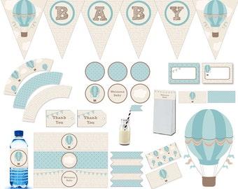 Baby Shower Printable,Printable,Decoration,Baby Shower, Baby printable, Air balloon,banner,water bottle, label,wrapper,vintage,baby,baby boy