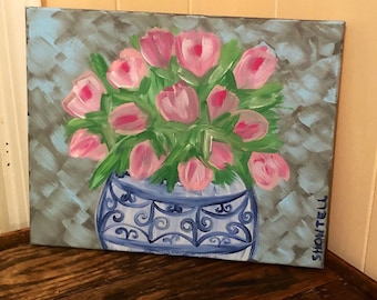 Tulip Painting- Pink Flowers- Blue and White Vase- Pink Floral- Floral Painting- Flower Painting- Floral Art- Tulips- Faux Tulips- Blue Vase