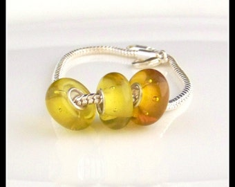 Silver Plated European Murano Glass Bead f275 Black Spots On Yellow
