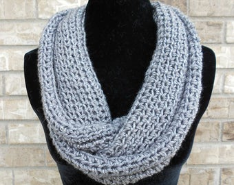 Gray Crochet Infinity Scarf, Teal Crochet Infinity Cowl, Crochet Snood, Christmas Gift for Her, Stocking Stuffer, Cowl with a Twist,