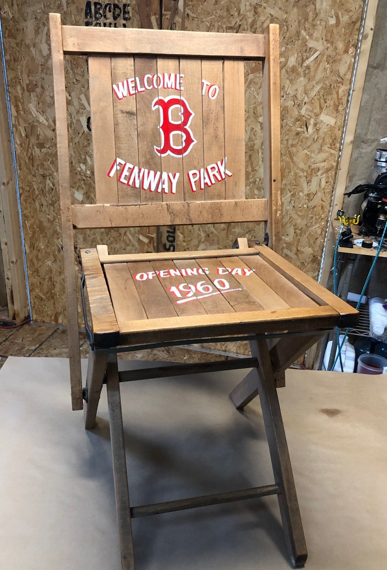 Prime Vintage Wooden Deck Chair Hand Painted With Boston Red Sox Logo Dailytribune Chair Design For Home Dailytribuneorg