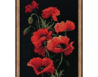 Сross stitch poppies Make to order Counted Cross stitch picture Cross stitch embroidery Tapestry Embroideries Needlework Poppies Black canva