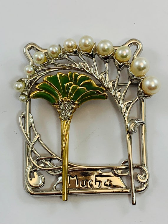 Mucha SS/14kt Lily of the Valley Brooch