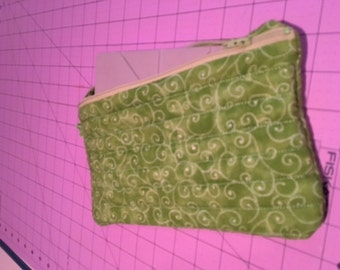 Hand made large lime green zippered cosmetic/kindle/diaper/anything bag