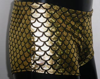Mens Dragonscale Mini Boxer Briefs, Gold Booty Shorts, Mermaid Spandex, Festival Clothing, Burning Man, Dragon Shorts, Mooners UK, Pride