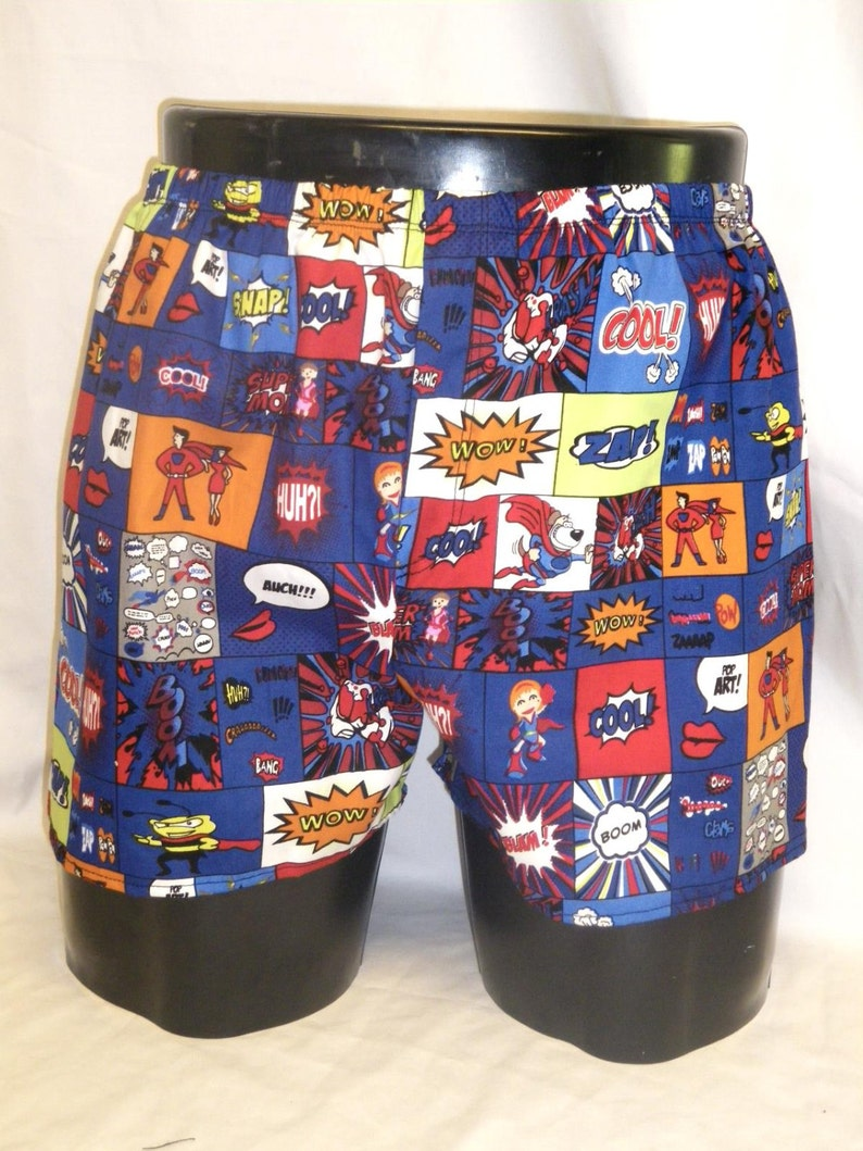 Mens Cotton Boxers Boxer Shorts Comic Strip M Medium image 0