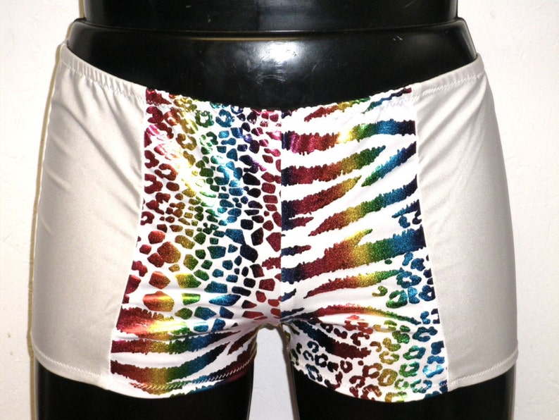 Mens Shorts Metallic Rainbow Animal Print Booty Shorts Gay image 0