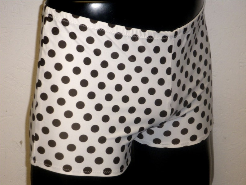 CLEARANCE Mens Spandex Booty Shorts M MEDIUM 30-34 White Brown image 0