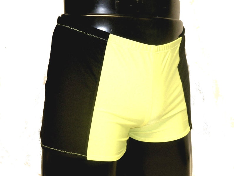 Mens Lycra Hotpants Booty Shorts Black Neon Yellow Spandex image 0