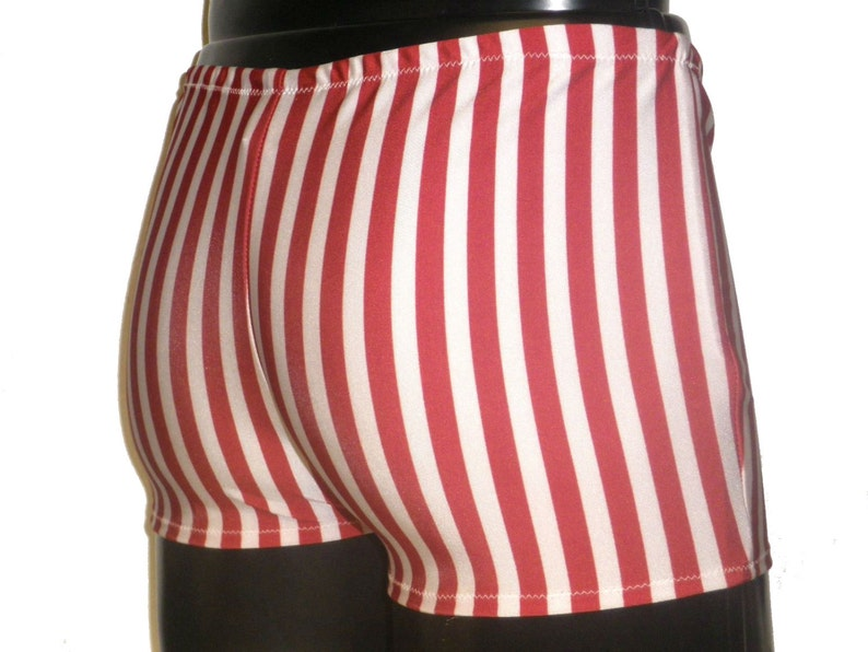 Mens Spandex Booty Shorts Candy Cane Stripe White Red image 0