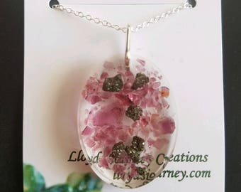 Pyrite and Rhodolite Garnet Pendant