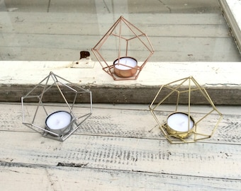 Outdoor Tea Light Holders Geometric candle etsy geometric decor candle holder tea light holder tea light candles copper decor workwithnaturefo