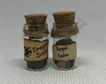 Dollhouse Miniature or Fairy Garden Corked Glass Jar Labeled Ground Bones
