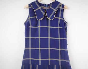 Vintage 60s Plaid Dropped Waist Dress, 60s School Girl Dress, Blue and Gold Plaid, Vintage Peggy Gee Dress