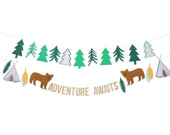 Adventure Awaits Garland - Campfire, Teepee, Wild One Party