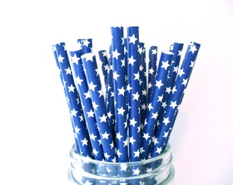 NEW!! Blue and White Star Paper Straws (Pack of 25 or 50) 4th of July Party Straws