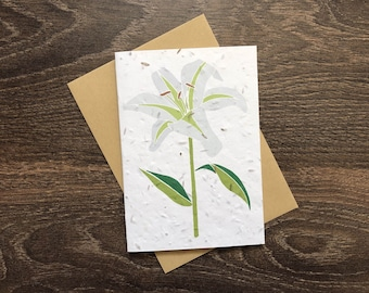 White Casablanca Lily - Plantable Seed Card with Envelope - Sympathy Card - Bereavement / Condolence / Funeral / Memorial / Thinking of You