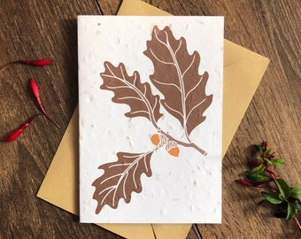 Acorns Plantable Seed Card with Envelope - Oak Tree Leaf - Autumn Wedding - Mabon / Handfasting / New Baby - Card for Dad - Mighty Oaks