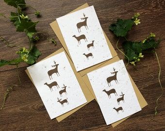 Mixed Pack of Plantable Seed Cards - Reindeer Family Christmas - Ecofriendly Xmas / New Year Cards - Plastic Free - Zero Waste - Handmade