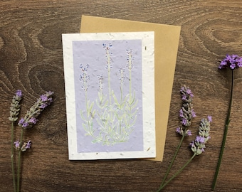 Pale Purple Plantable Seed Card with Vegan Envelope - Lavender Design - Friendship Card / Thinking of You / Birthday / Anniversary Card