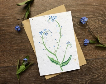 Forget-Me-Not - Plantable Seed Card with Envelope - Thinking of You - Sympathy - Bereavement - Condolence - Rememberance - Thank You Card
