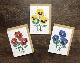 Garden Pansies - Pack of 3 Plantable Cards with Envelope - Cards for Daughters / Friends / Grandchildren - Contains REAL wildflower seeds!
