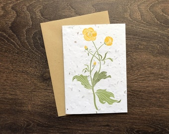 Buttercup Plantable Seed Card with Vegan Envelope - British Wildflower Birthday Card - Botanical Illustration - Eco Friendly Wedding Card