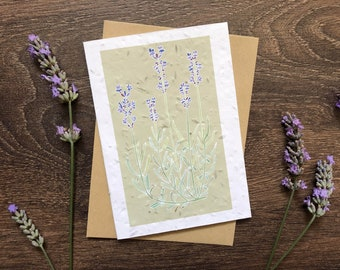 Sage Green Lavender - Plantable Seed Card with Vegan Envelope - Sympathy / New Baby / Just Because / Thinking of You / Congratulations Card