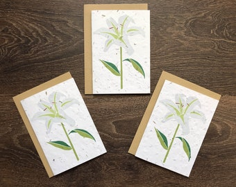Pack of 3 White Lily Plantable Seed Cards with Vegan Envelopes - Wedding Invitations / Condolence / Sympathy Cards / Order of Service Covers