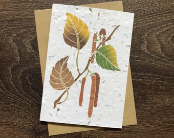 Birch Tree - Plantable Wildflower Card with Envelope - Autumn Birthday Card for Dad / Wedding Card / Congratulations / New Baby / Pregnancy