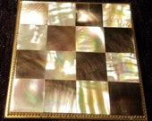 Vintage ladies Mother of Pearl Checker Top Powder Compact Check Pattern
